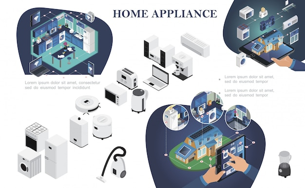 Isometric smart home composition with remote control of household appliances from modern digital devices Free Vector
