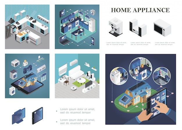 Isometric smart home composition with remote control of household appliances from tablet laptop phone smartwatches kitchen and living room interiors Free Vector