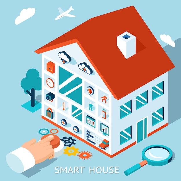 Концепция изометрические умный дом. управление домом нажатием кнопки. Бесплатные векторы