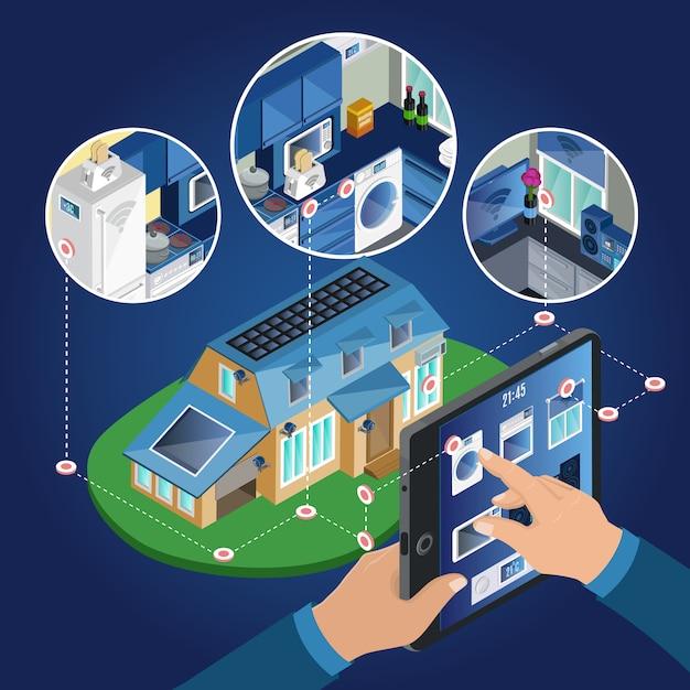 Concetto di gestione casa intelligente isometrica Vettore gratuito