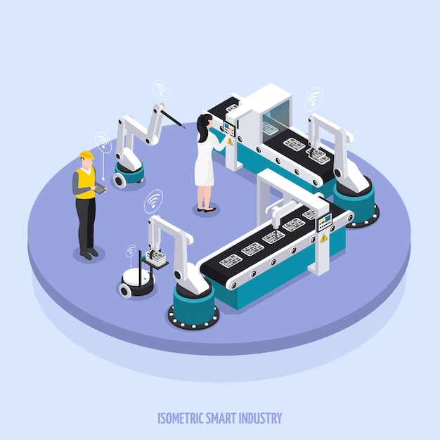 Isometric smart industry round platform with two workers supervise the equipment vector illustration Free Vector