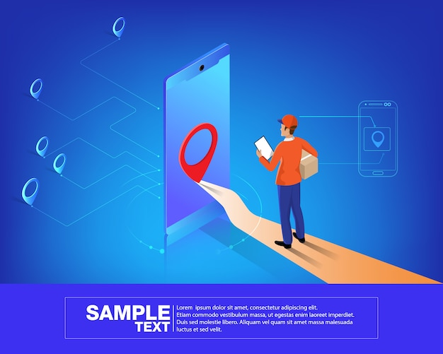 Isometric smart mobile logistics network Premium Vector