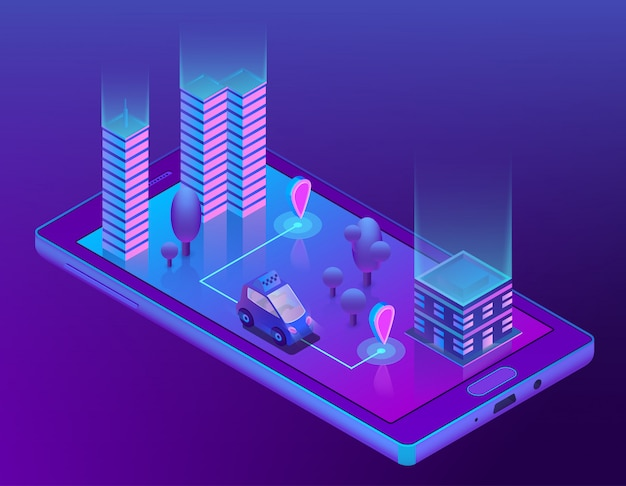 Isometric smart taxi app for smartphone Free Vector