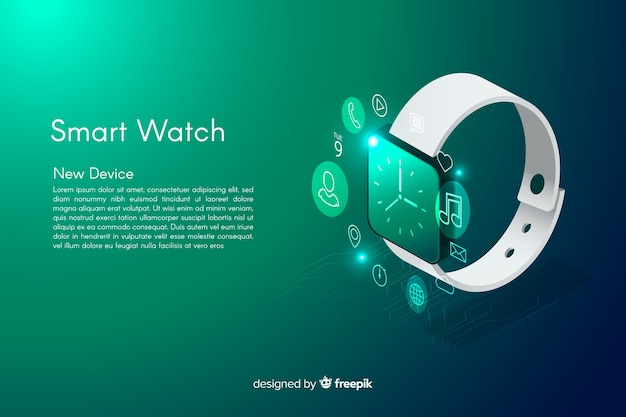 Isometric smarth watch background Free Vector