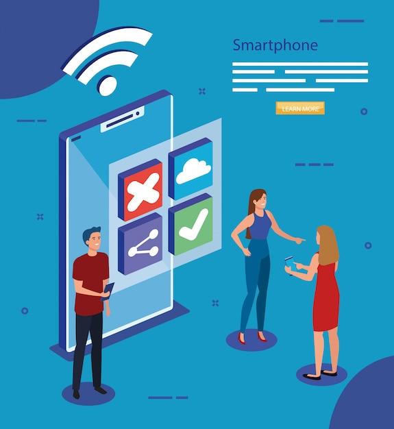 等尺性のスマートフォンと人々のベクターデザイン Premiumベクター