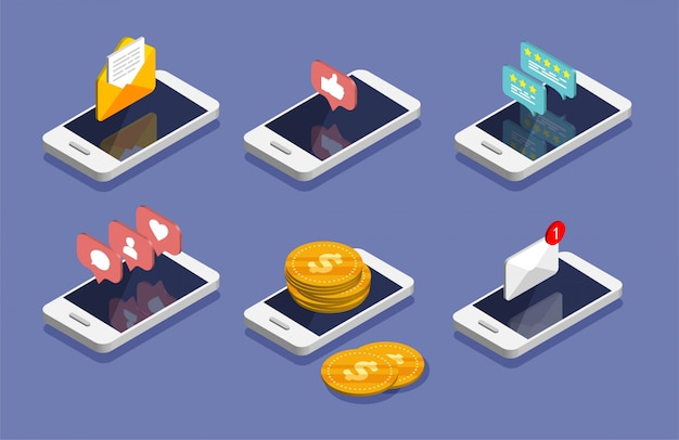 Isometric smartphone. e-mail, email marketing, internet advertising concepts. money movement, online payment and banking concept. social media notifications icon. Premium Vector