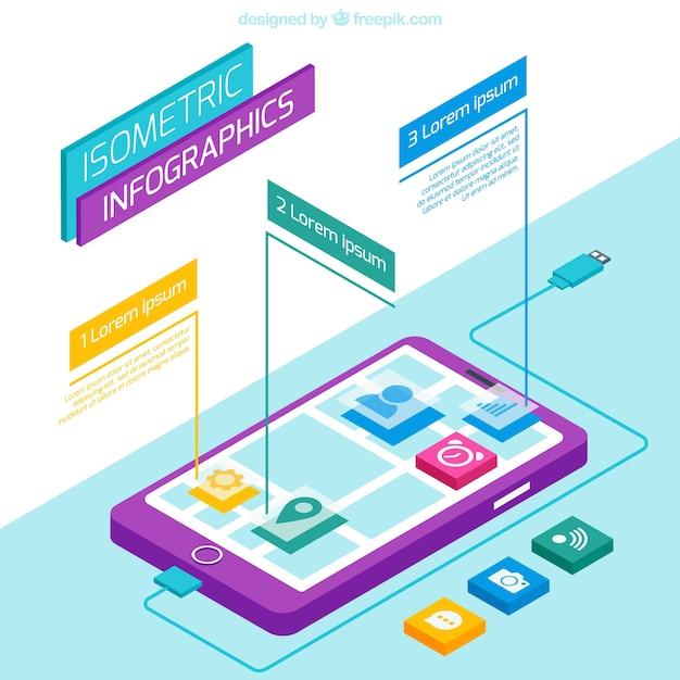 Isometric smartphone infographic Premium Vector