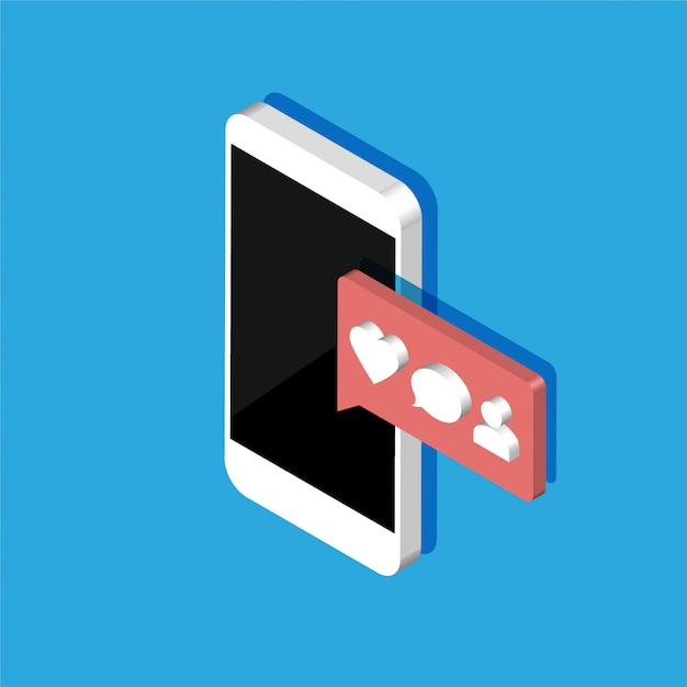 Изометрические смартфон с иконками уведомлений социальных медиа. 3d чат сообщение, как, сердце, комментарий. иллюстрация, изолированных на цветном фоне. Premium векторы