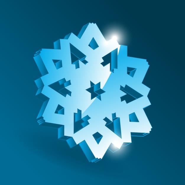 さまざまな視点形状の等尺性スノーフレークアイコン。クリスマスデザインと正月飾りのシンプルな青い雪のフレーク要素 Premiumベクター