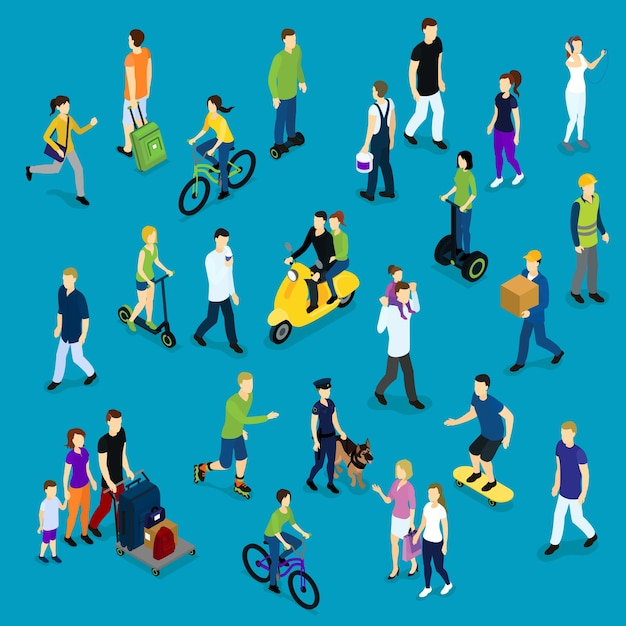 Folla sociale isometrica Vettore gratuito
