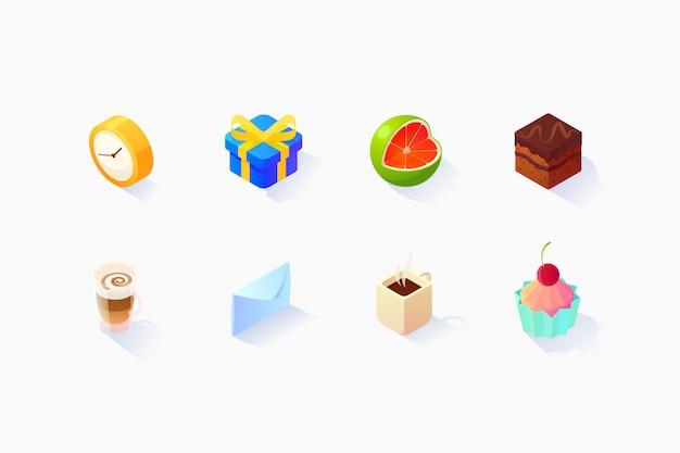 Isometric social icons set Free Vector