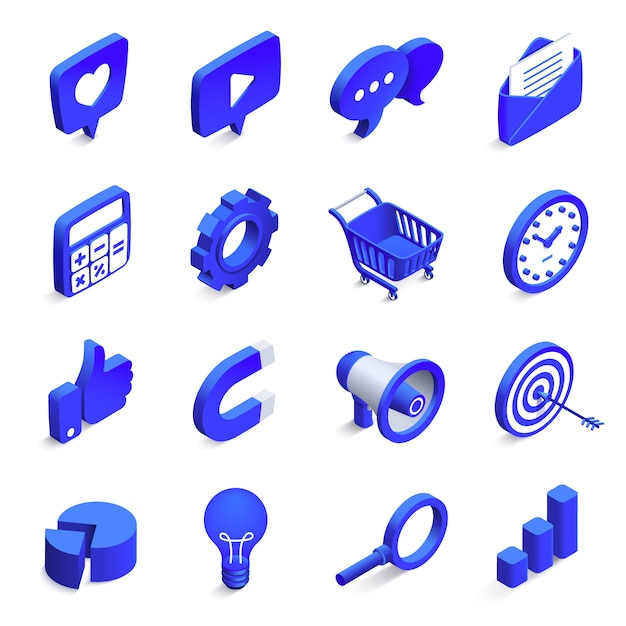 Isometric social marketing. inbound and outbound marketings, money magnet and like icon. 3d community network vector icons set Premium Vector