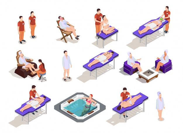 Isometric spa salon character collection Free Vector