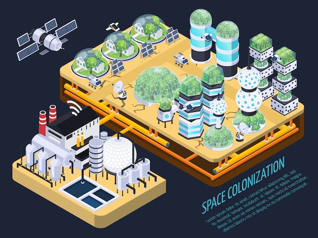 Isometric space colonization concept Free Vector
