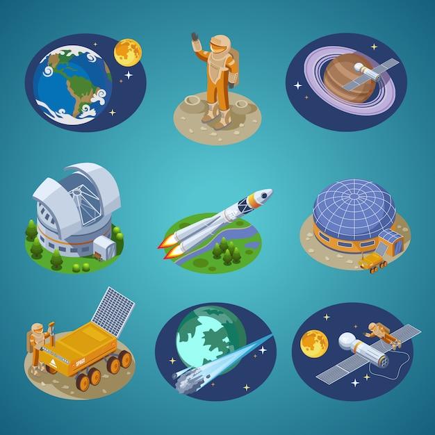 Set di elementi spaziali isometrici Vettore gratuito