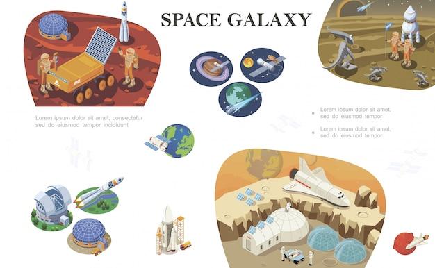 Composizione isometrica di esplorazione dello spazio con gli astronauti che incontrano gli alieni basi cosmiche shuttle rover razzo su diversi pianeti Vettore gratuito