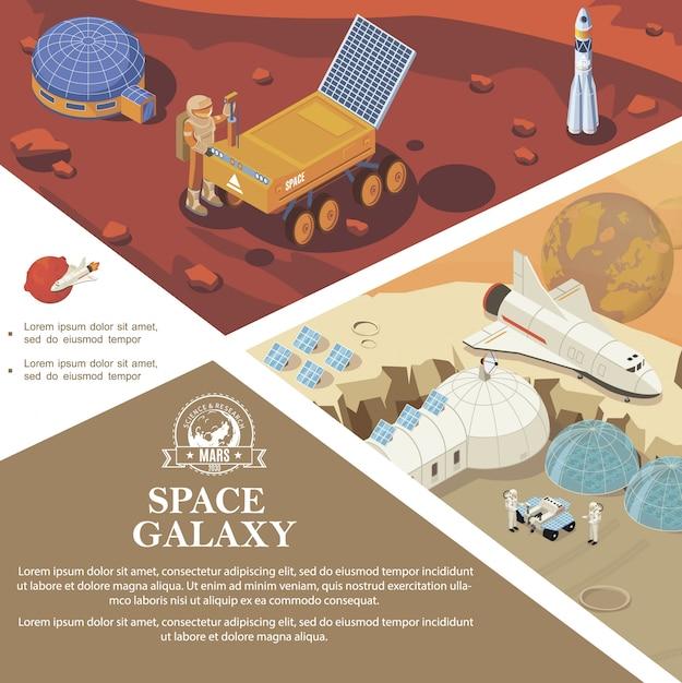Изометрические космические исследования красочных шаблонов с космонавтами космических баз и станций марсоходов на разных планетах Бесплатные векторы