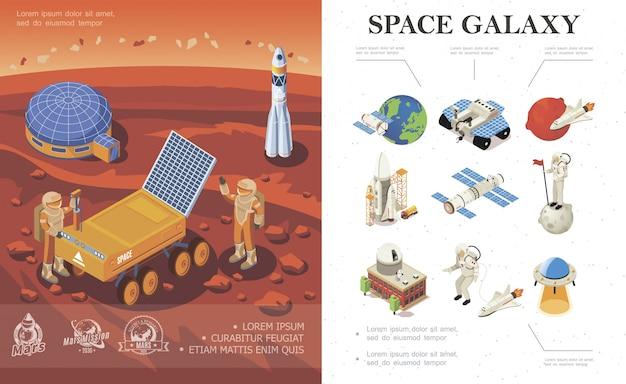 Изометрическая композиция для космических исследований с космической базой ракеты-космонавта роуд на планете марс и красочными галактическими иконками Бесплатные векторы