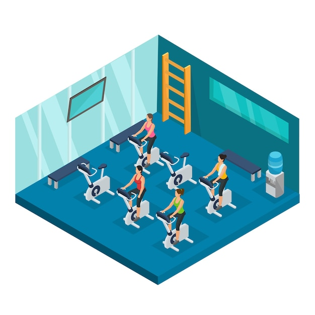 Isometric sport and fitness template Free Vector