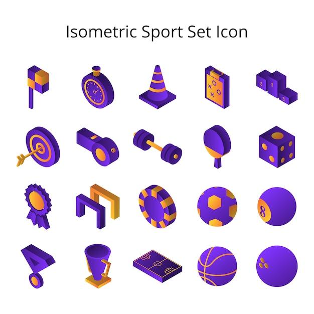 Isometric sport set icon Premium Vector