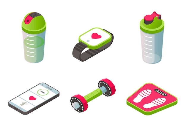 Isometric sport wearable accessories icons set Free Vector