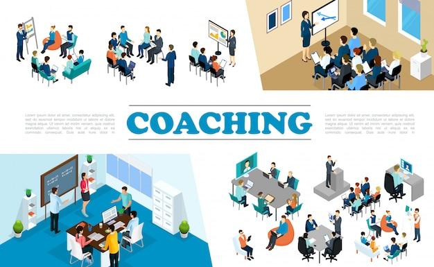 La composizione di coaching aziendale del personale isometrico con le persone partecipa al brainstorming del seminario di formazione del personale della conferenza Vettore gratuito
