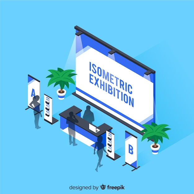 Isometric stand exhibition concept Free Vector