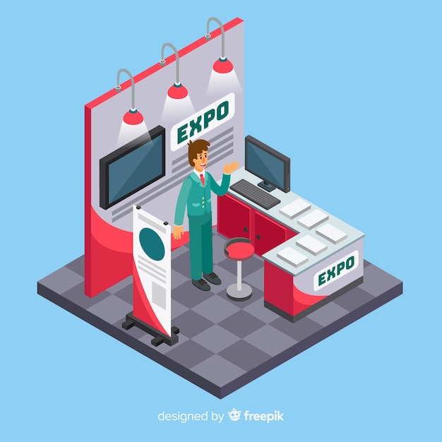 Isometric stand exhibition design Free Vector
