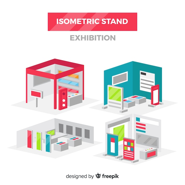 Isometric stand exhibition vector Free Vector