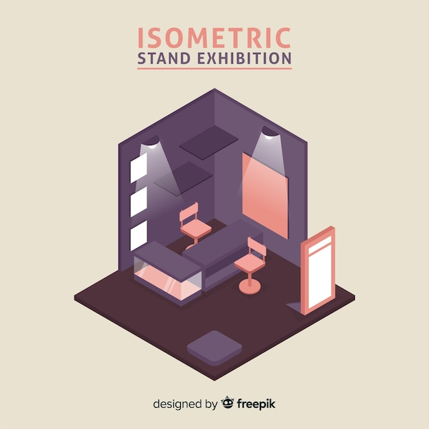 Exhibition Stand Free Vector : Isometric stand exhibition vector vector free download