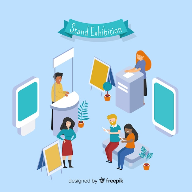Isometric stand exhibition Free Vector