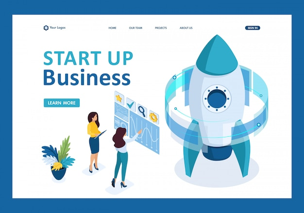 Isometric start up of a business project, a business woman working on a virtual screen landing page Premium Vector