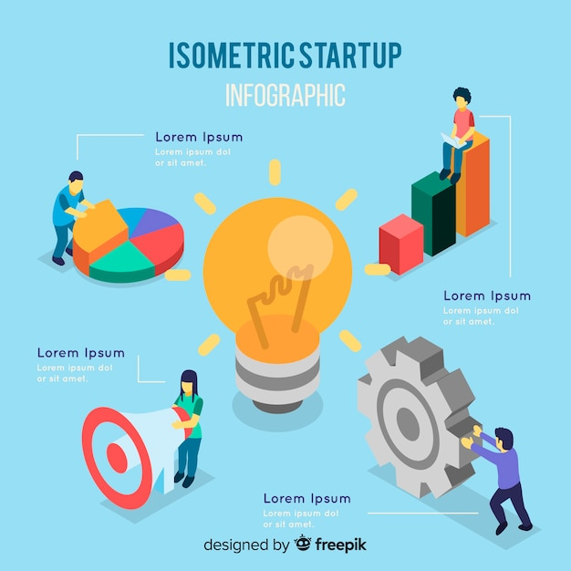 Isometric startup infographic Free Vector