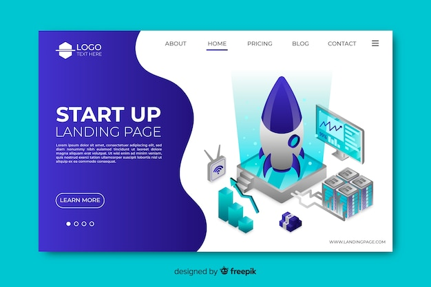 Isometric startup landing page Free Vector