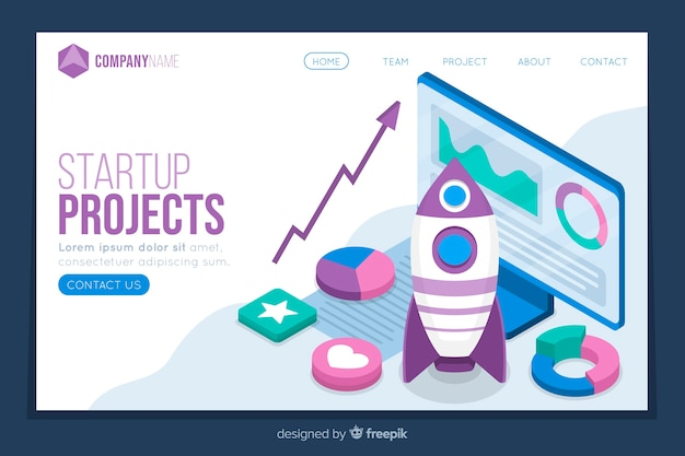 Isometric startup projects landing page Free Vector
