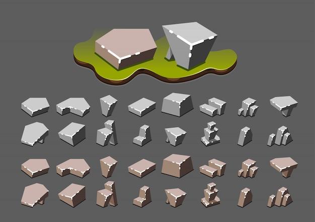 Isometric stones for video games Premium Vector