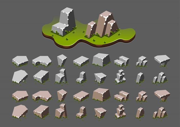 Isometric stones with grass for video games Premium Vector