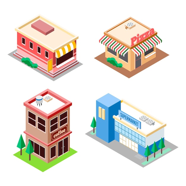Isometricstore collection Free Vector