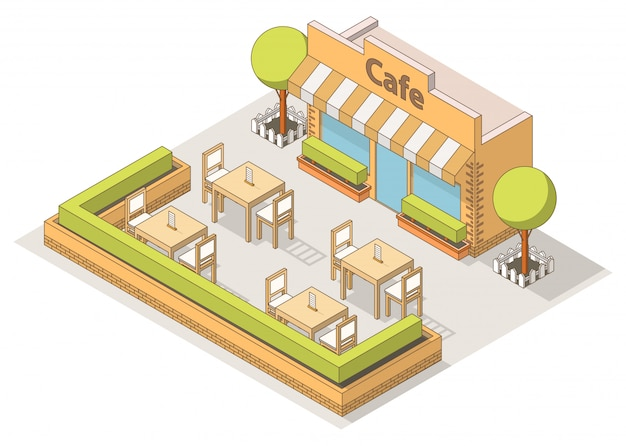 Isometric street cafe interior, tables and chairs,trees. Premium Vector