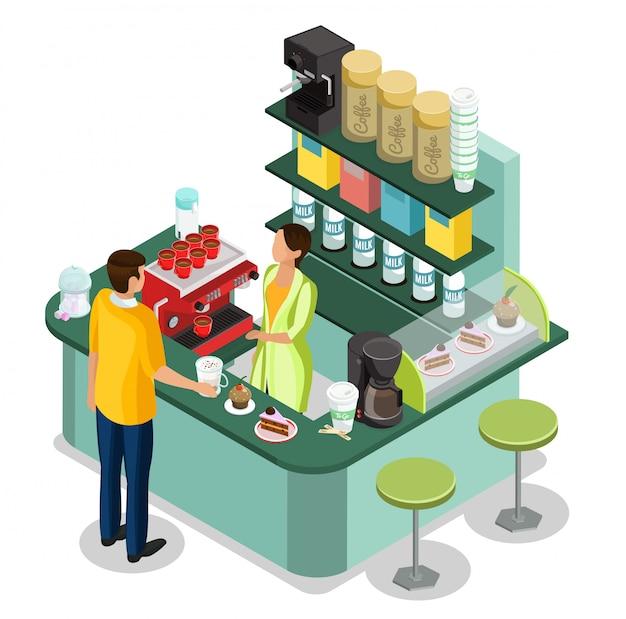 カウンターでバリスタと等尺性のストリートコーヒーストールコンセプトと顧客が温かい飲み物と分離されたデザートを購入 無料ベクター