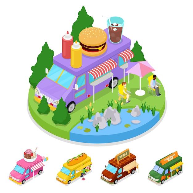 사람들과 아이소 메트릭 거리 음식 버거 트럭입니다. 프리미엄 벡터