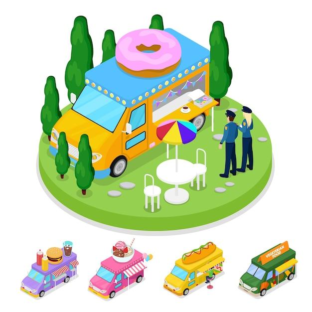 사람들과 아이소 메트릭 길거리 음식 도넛 트럭 프리미엄 벡터