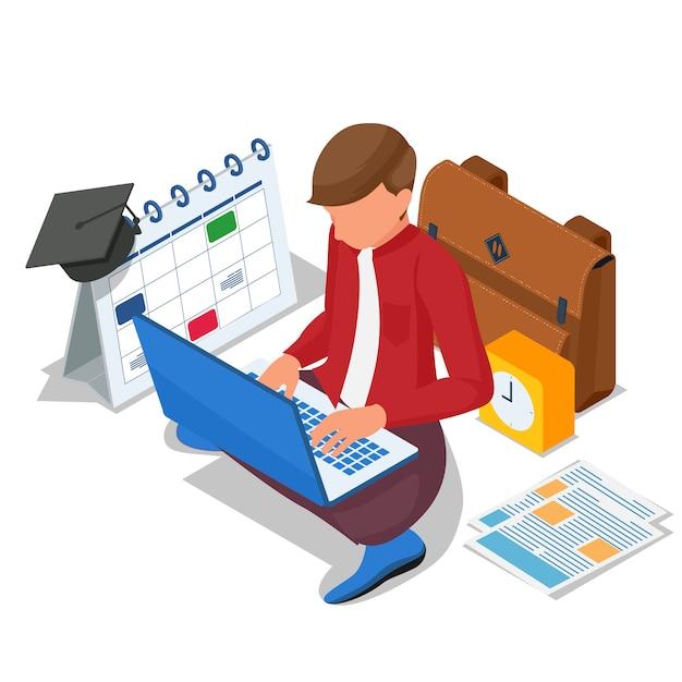 等尺性の学生は、コンピューターのラップトップでオンライン学習を行います。ベクター Premiumベクター