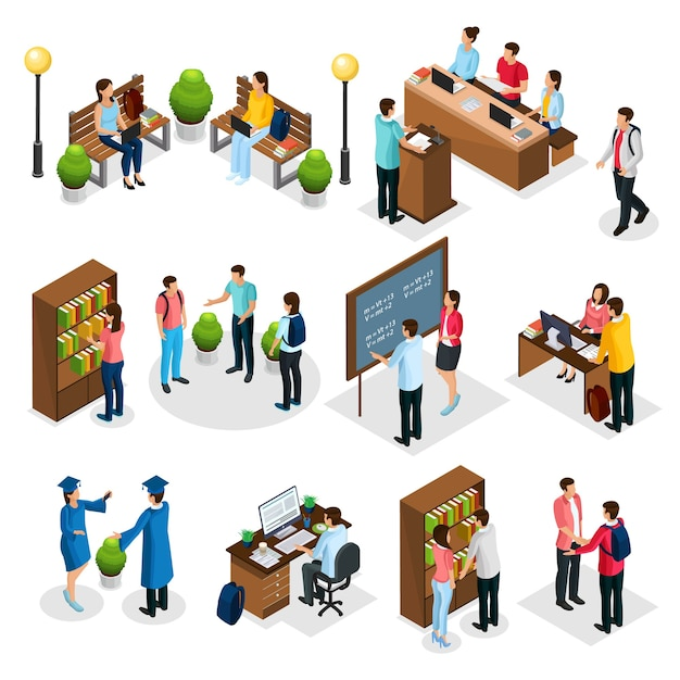 Isometric students in university set with graduates people learning reading taking examination visiting library lecture doing homework isolated Free Vector