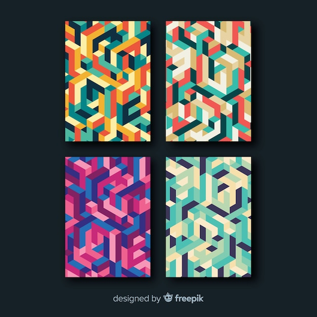 Isometric style brochure collection Free Vector