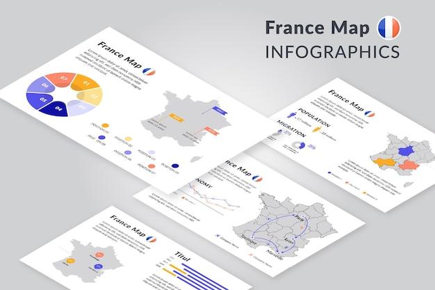 アイソメトリックスタイルのパリの地図のインフォグラフィック Premiumベクター