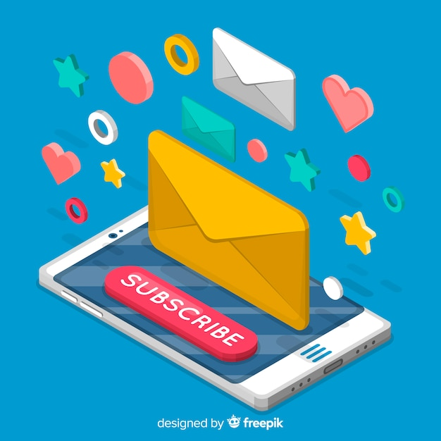 Isometric subscribe concept Free Vector