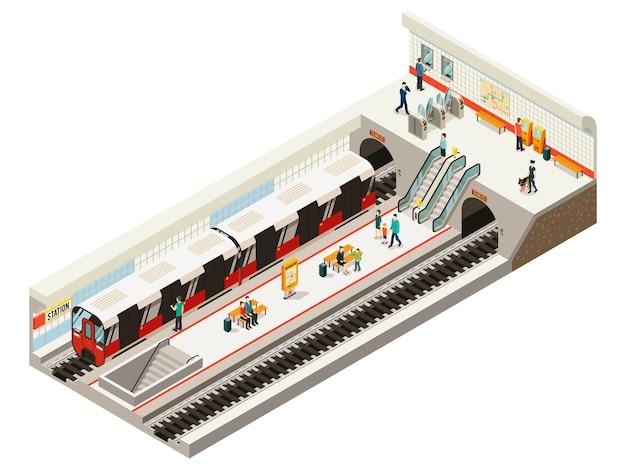 Il concetto di stazione della metropolitana isometrica con la ferrovia della scala mobile del bordo di informazioni dei cancelli del biglietto del treno mette i passeggeri sulla piattaforma isolata Vettore gratuito