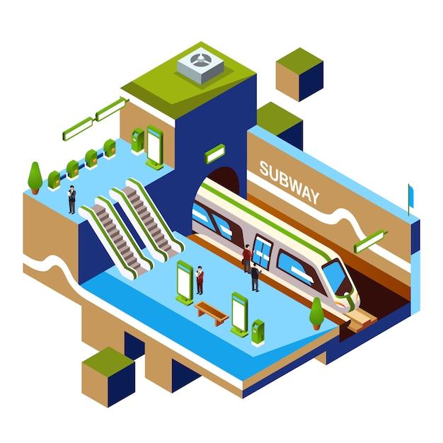 Isometric subway station cross-section concept. metro or underground platform Free Vector