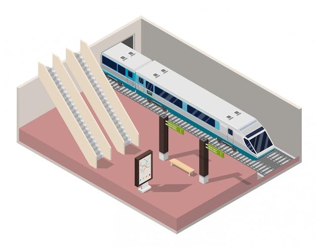 Isometric subway station platform. Premium Vector
